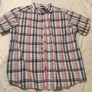 Columbia Plaid Short Sleeve Button Down Size Large